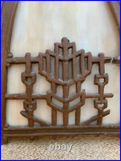 17antique Slag Glass Panel Table Lamp