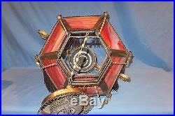 1890's 14 Victorian Miller Slag art Glass Hanging Parlor Oil Lamp