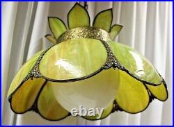 18 Vintage Slag Glass Hanging Lamp Lotus Design Pomona Color