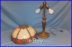 1909 victorian pink art slag Glass Miller Handel Table Lamp