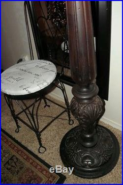 1910's Heavy Large Antique Floor Lamp with Slag Glass Wood & Metal -STUNNING