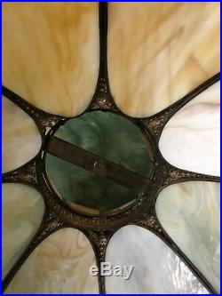 1920's ANTIQUE BENT PANEL SLAG GLASS TABLE LAMP SHADE LARGE 19 8 PANEL NO BASE