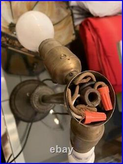 1920's American Arts & Crafts Movement Bronze Caramel Slag Glass Table Lamp