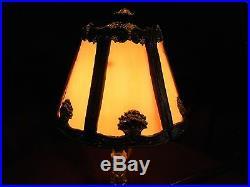 1920s ART NOUVEAU BOUDOIR LAMP With SLAG GLASS SHADE