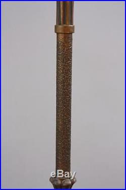 1920s Floor Lamp Torchiere Wood & Gesso Slag Glass Antique English Tudor (5329)