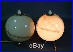 1930's German Bauhaus Art Deco Gild Marbled Slag Glass Globes Table Lamps Pair