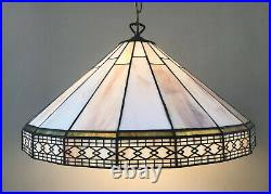 19 Wide Mission Style Hanging Light Fixture Lamp Chandelier Stained Slag Glass