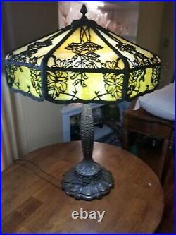 20 Antique Miller Oak Leaf Slag Glass Lamp Tiffany, Handel B&H era