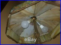 20 Antique Miller Oak Leaf Slag Glass Lamp Tiffany, Handel era