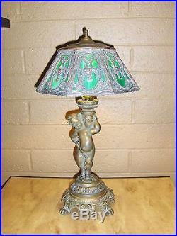 21 Antique Art Nouveau Green & White Slag glass Cast metal Lamp