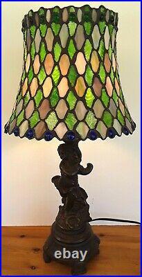 23 LAMP Leaded Stain Glass SHADE in Green Blue Purple Slag & Bronze Cherub BASE