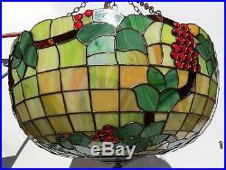 24 Leaded Stained Slag Glass Ceiling Lamp Chandelier Bradley/Hubbard/Handel era