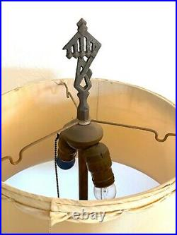 2 Agate Glass Uranium Reactive Floor Lamps Slag withShades Vintage Art Deco Houze