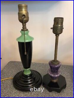2 Art Deco Akro Agate Slag Glass HOUZE LAMPS Green & Black & Purple Striped