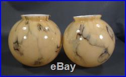 2 Art Deco Bohemian Loetz Vaseline Caramel Blue Slag Glass Lamp Shade Globe Pair