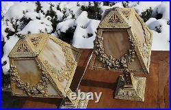 2 RARE Antique Art Deco Boudoir Cast Iron Slag Glass Table Lamps 16