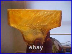 2 RARE Bournique Kokomo CARMEL WHITE Slag Glass Arts Crafts Electric Lamp Shades