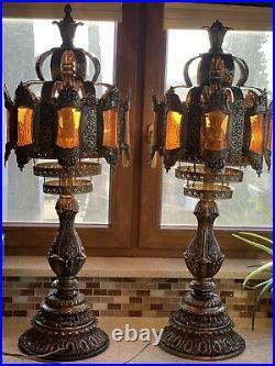 2 Vintage Brass Filigree Stained Ombre Slag Glass Hollywood Regency Lamp 40