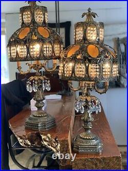 2 Vintage Brass Filigree Stained Slag Glass Hollywood Regency Lamp 38 Tall