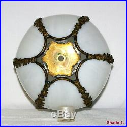 2 x DECO NOUVEAU WHITE CURVED TULIP SLAG GLASS LAMP HANGING LIGHT SHADES