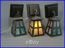3 Antique Arts Crafts Mission Era Steel Lantern Lights Lamps Slag Glass Panels