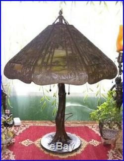 3 x signed Handel Sunset overlay slag lamp Tiffany arts crafts leaded era