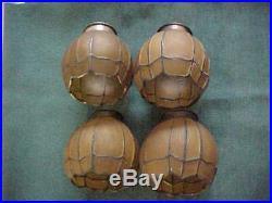 4 Handel Era HONEY Colored Kokomo Slag Glass Arts & Crafts Electric Lamp Shades