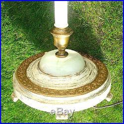 4-Light 1920s Floor Lamp White, Gold Gilt, Slag Glass