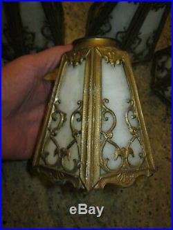 4 matching slag glass light fixture lamp shade lot Arts & Crafts Deco Nouveau