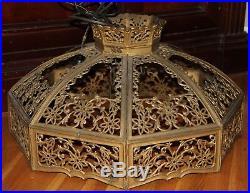 ANTIQUEBent Slag Glass Hanging Lamp ChandelierWorking condition