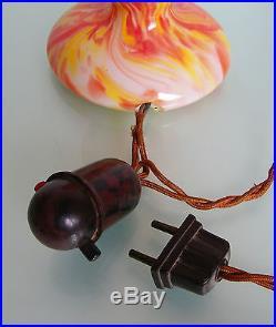 ANTIQUE 1930 ART DECO BELGIAN TABLE LAMP by SCAILMONT MUSHROOM GLOBE SLAG GLASS