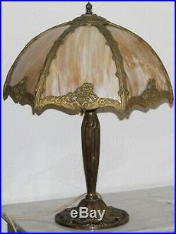 ANTIQUE 6 PANEL BENT SLAG GLASS TABLE LAMP with OVERLAY HANDEL B&H ERA