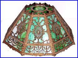 Antique 8 Green Slag Glass Panel Metal Overlay Table Lamp