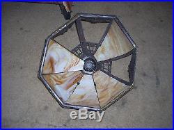 ANTIQUE 8 PANEL BENT CARAMEL SLAG GLASS LAMP WAS PERFECT ORNATE Ca. 1900's
