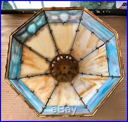 ANTIQUE AMERICAN Slag Glass Lamp 16 Slag Panels Table Lamp