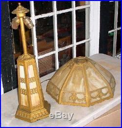 Antique Arts & Crafts Miller Era Curved Panel Slag Glass Lighthouse Lamp N/r