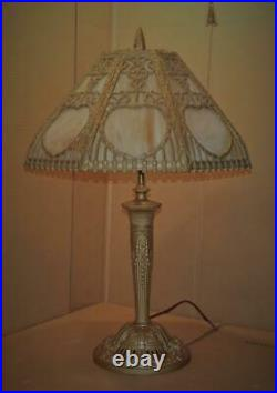 ANTIQUE Art Deco Slag Glass Table Lamp Vintage Table Lamp with Panel Glass Shade