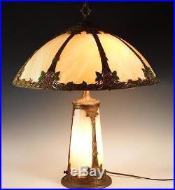 Antique Circa 1910 Slag Gl Lamp With