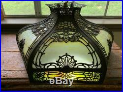 ANTIQUE Curved Slag Glass Hanging Lamp Chandelier Copper and Glass