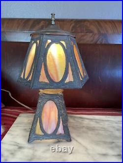 ANTIQUE LIGHTED-BASE Amber Pink SLAG GLASS 5& 6-PANEL ELECTRIC TABLE DESK LAMP