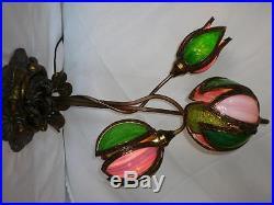 Antique Lily Slag Glass Lamp Flower Pink Green Bronzed Base Possibly Handel