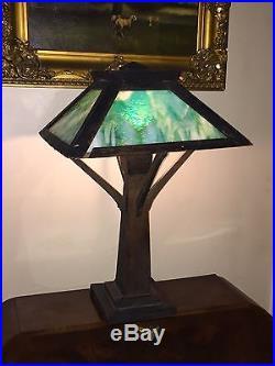 e1864ef80f8b2 Antique Mission Oak Arts And Crafts Table Lamp Green Slag Glass ...