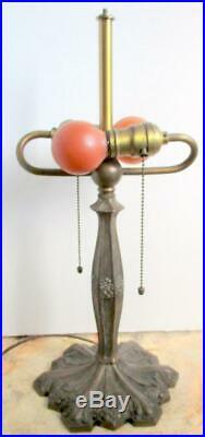 ANTIQUE Miller Art Nouveau Table Lamp Hubbell Socket Acorn Slag Glass Shade Base