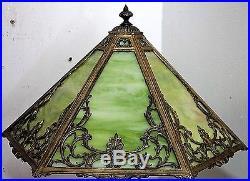 Antique Signed Rainaud Slag Glass Gilt Silhouette Table Lamp. Tiffany, Handel Era