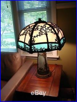 ANTIQUE SLAG GLASS LAMP with LIGHT UP BASE, 3 bulbs, circa 1910, art nouveau style
