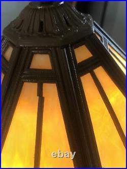 ANTIQUE SLAG GLASS PANEL LAMP SIGNED RAINAUD / Carmel