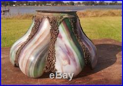 Antique Victorian 8 Panel Curve Slag Glass Gas Kerosene Oil Lamp Shade 4 Fitter