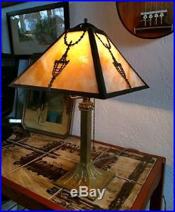 ANTIQUE Victorian French Arts and Crafts Slag Glass Lamp c 1890