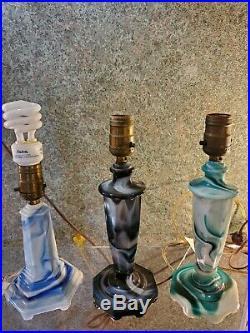 ART Deco BLACK Purple Glass Akro Agate slag Table radio Lamp 30s Houzex Houze