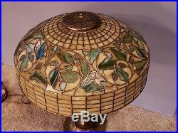 AUTHENTIC Tiffany Studios Oak Leaf & Acorn Leaded Stained Slag Glass Table Lamp